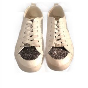 G By Guess White & Gold Black Sparkle Sneakers 11